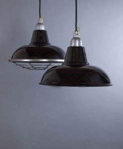 Morley Black Industrial Lighting - Enamel Pendant Lights with/without Cage