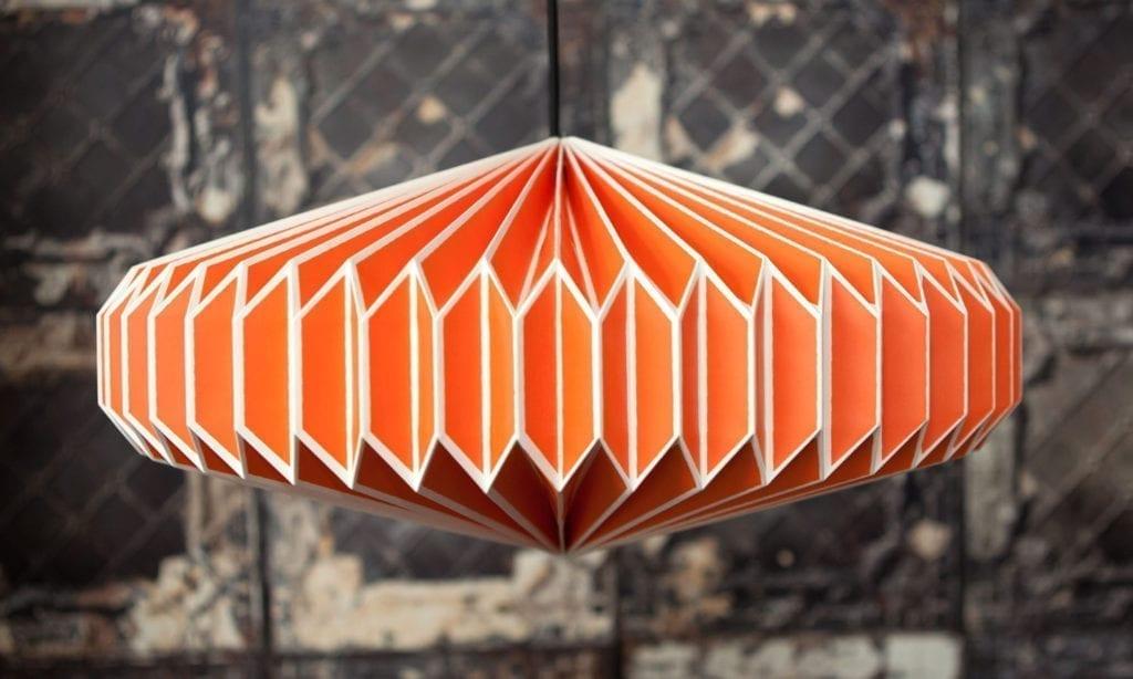 origami lampshade in orange