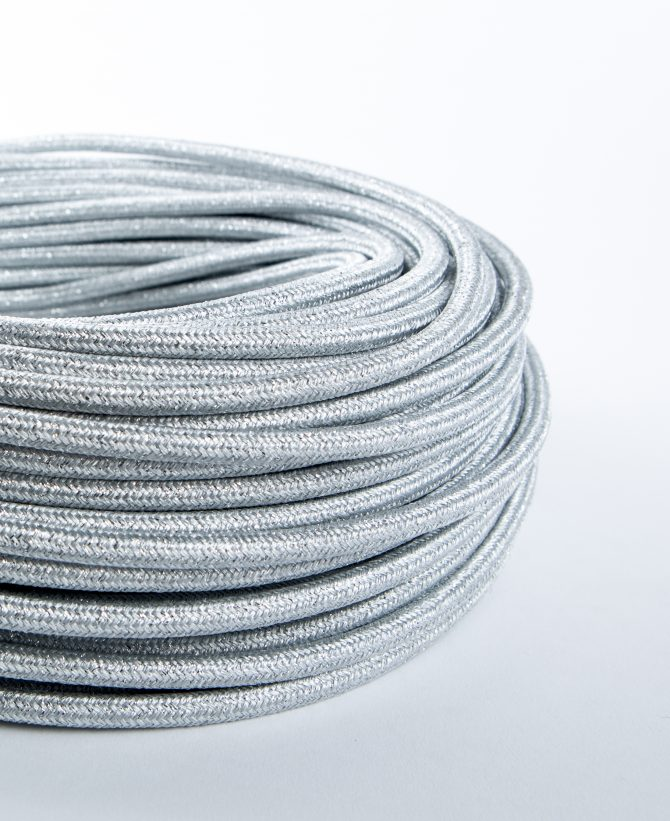 silver metallic fabric cable for lighting