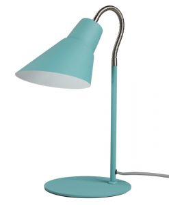 blue metal desk light with adjustable neck
