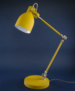 Table Lamp Yellow & Silver Desk Light