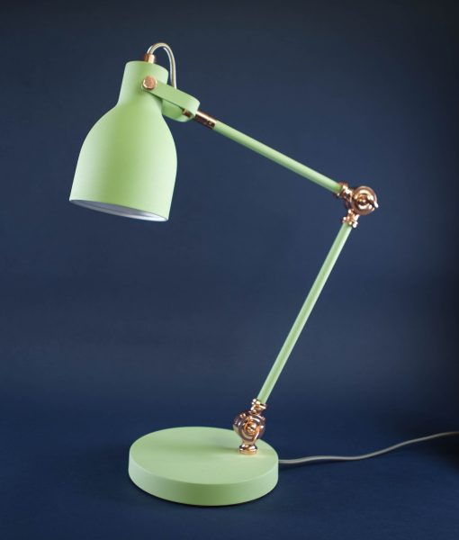 Table Lamp Green & Copper Desk Light