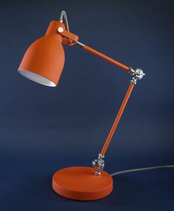 Table Lamp Orange & Silver Desk Light