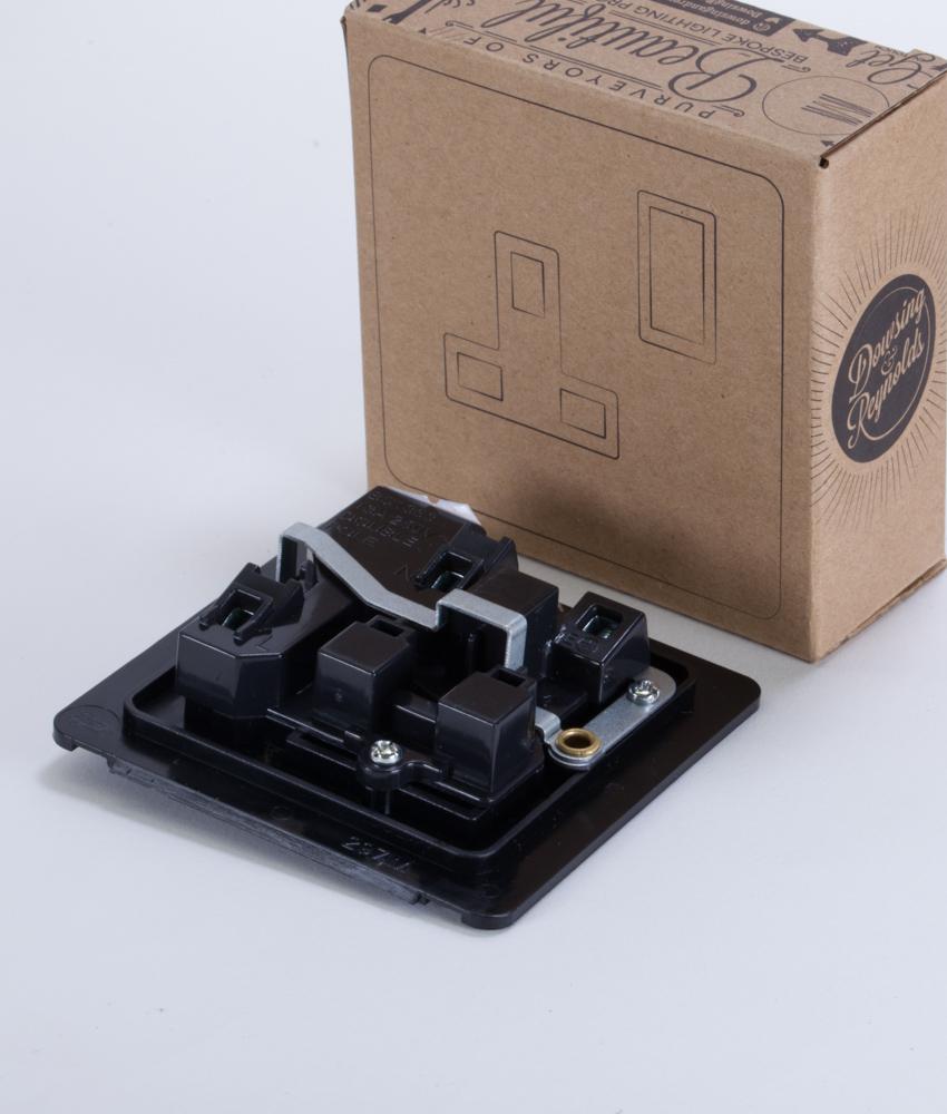 Single Plug Socket 1 Gang Copper & Black Industrial Style