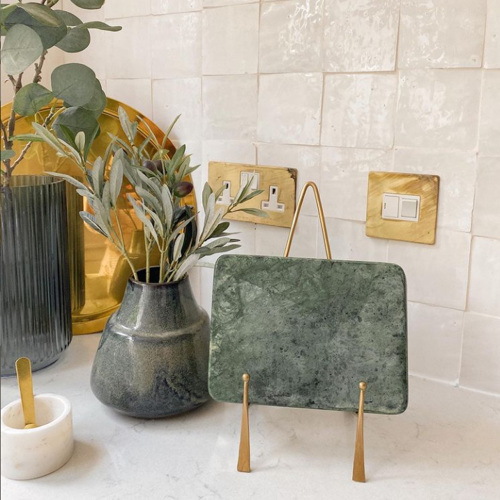 gold and green kitchen accessories