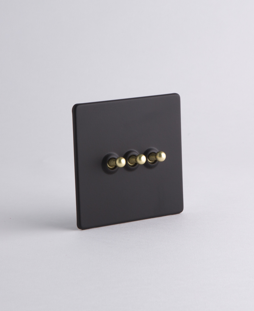 Black Triple Toggle Light Switch With Black Brass Or