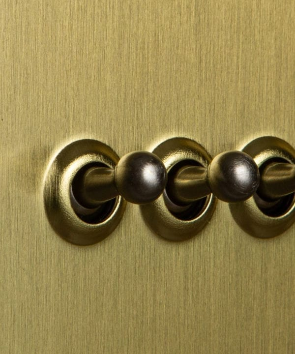Gold triple toggle switch with silver toggles