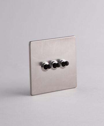 toggle light switch 3 toggle silver & black