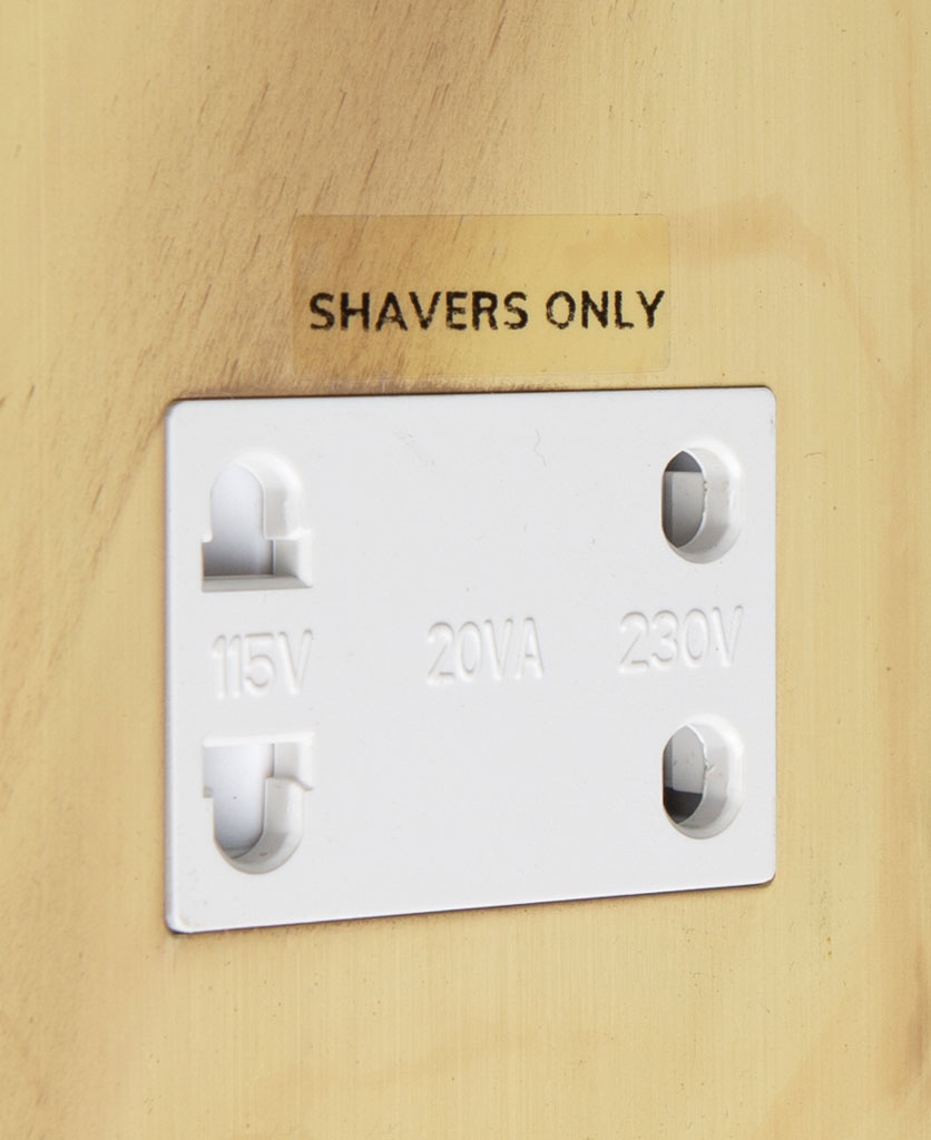 smoked gold and white shaver socket close up