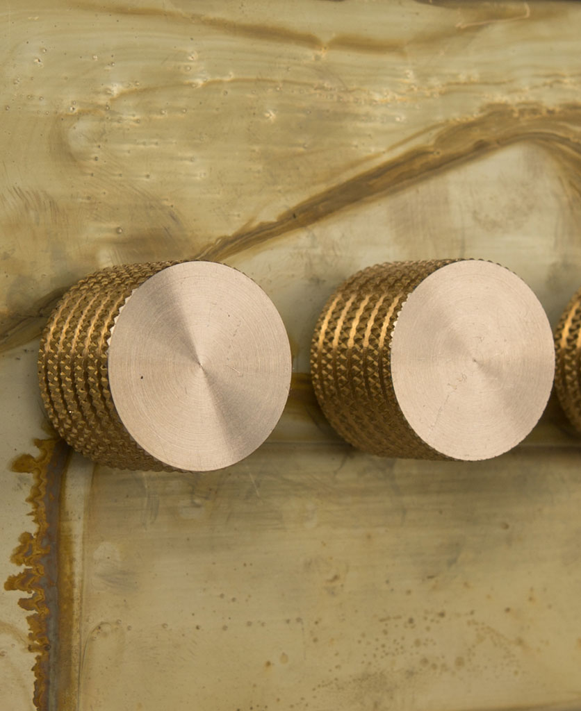 smoked gold triple dimmer switch with gold knobs