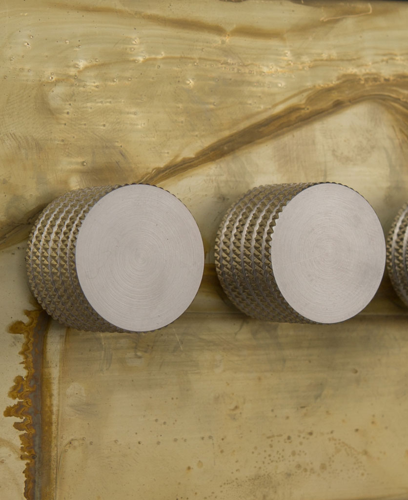 smoked gold triple dimmer switch with silver knobs