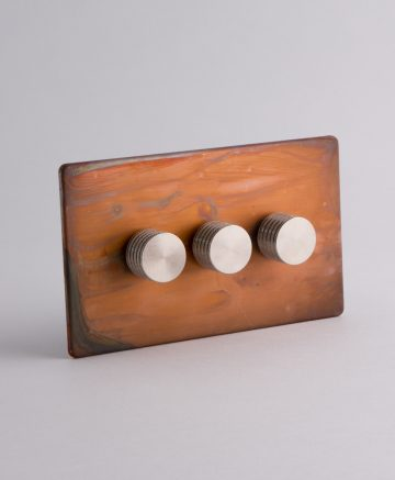 designer dimmer switch treble tarnished copper & silver