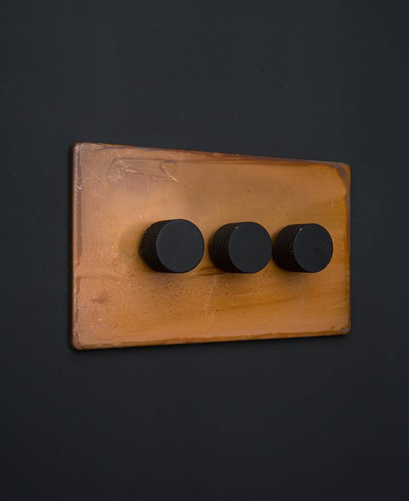 Copper Triple Dimmer Switch With Black Gold Silver Or
