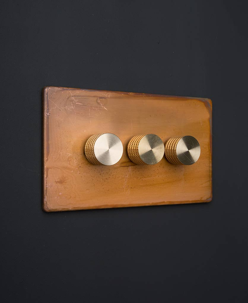 Copper Triple Dimmer Switch With Black Gold Silver Or White Knobs