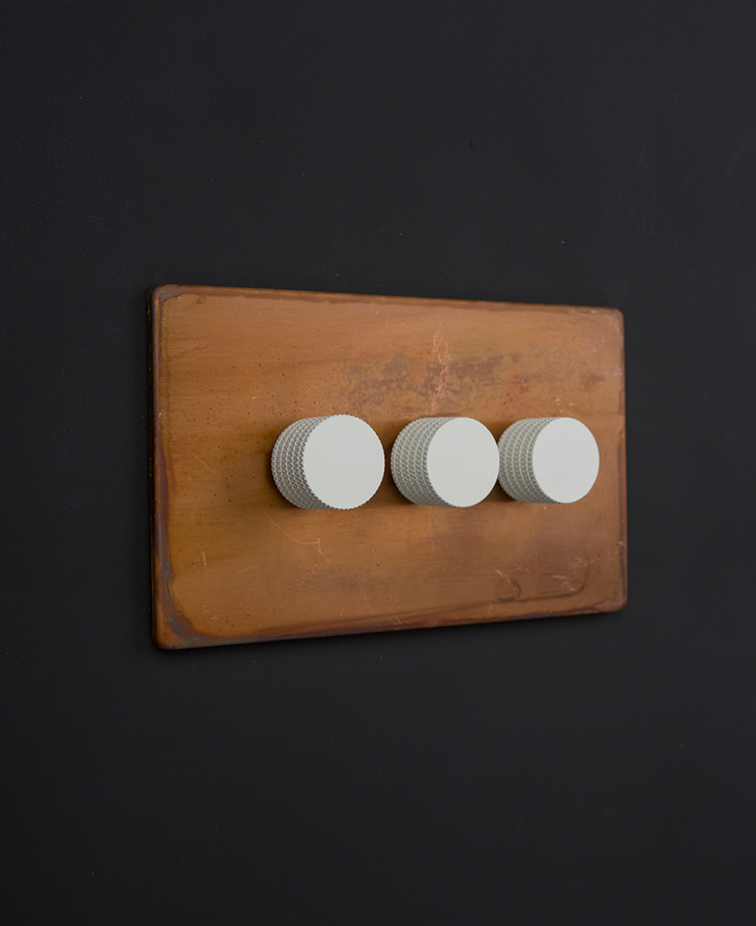 copper dimmer switch LED with white knurled dimming knobs
