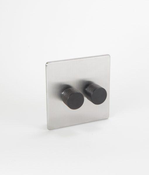 designer dimmer switch double silver black light switch. Black Bedroom Furniture Sets. Home Design Ideas