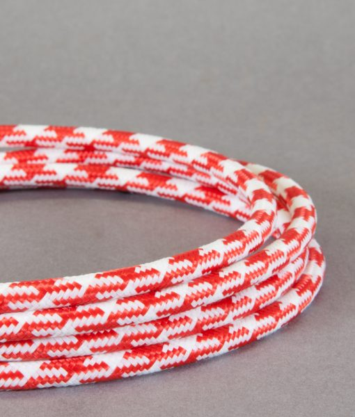 Red Houndstooth Fabric Cable for Lighting 8 Amp 3 Core
