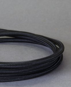 Black Fabric Cable for Lighting 8 Amp 3 Core CE Certified