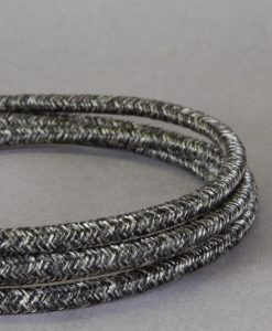 Grey Textured Fabric Cable for Lighting 8amp 3 Core
