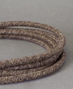 Textured Brown Fabric Cable for Lighting 8 Amp 3 Core