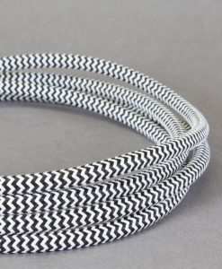 black and white fabric cable