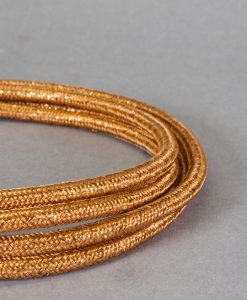 Gold Fabric Cable for Lighting 8 Amp 3 Core CE Certified