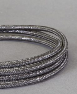 Metallic Grey Fabric Cable for Lighting 8amp 3 Core