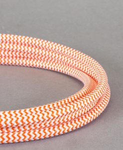 Orange and White Fabric Cable for Lighting 8 Amp 3 Core