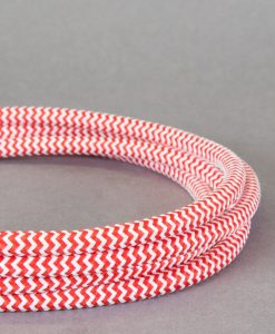 Red and White Fabric Cable for Lighting 8 Amp 3 Core