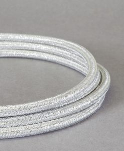 Fabric Cable for Lighting Silver Metallic 8 Amp 3 Core