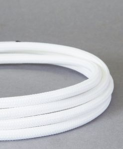 Fabric Cable for Lighting White: 8 Amp CE Certified