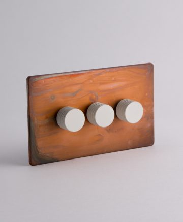 designer dimmer switch treble copper & white