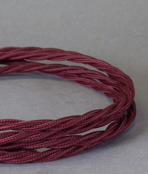 Burgundy Braided Fabric Cable for Lighting 8 Amp 3 Core