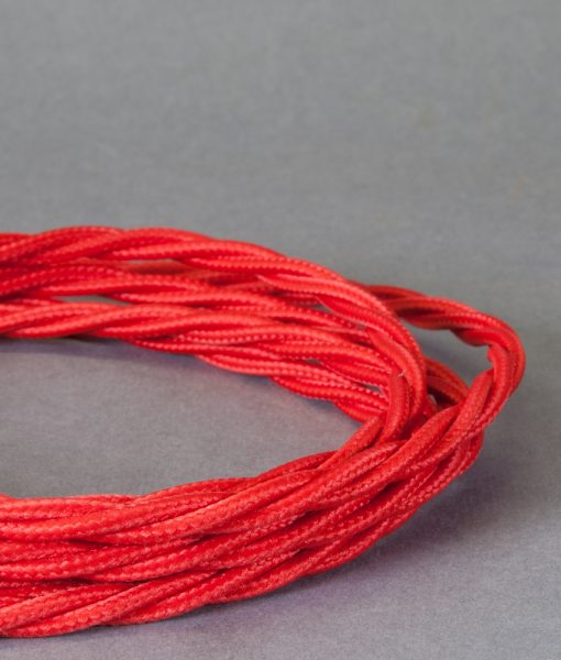 Red Braided Fabric Cable for Lighting  8 Amp 3 Core