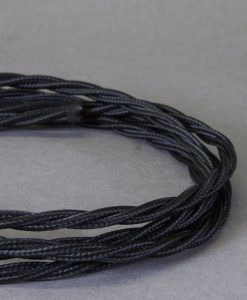 Black Braided Fabric Cable for Lighting 8 Amp 3 Core