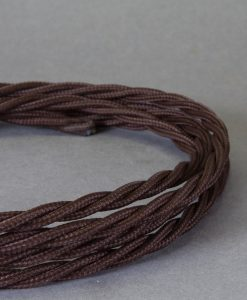 Brown Braided Fabric Cable for Lighting 8 Amp 3 Core