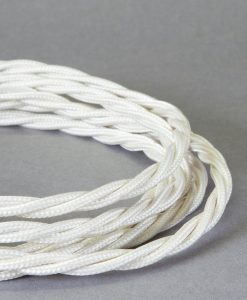 Braided Fabric Cable for Lighting Ivory: 8 Amp CE Certified