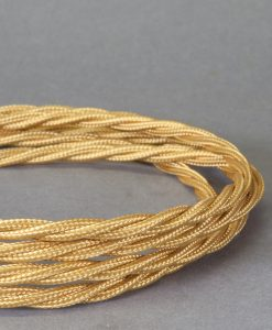 Rich Gold Braided Fabric Cable for Lighting 8 Amp 3 Core