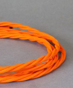 Orange Braided Fabric Cable for Lighting 8 Amo 3 Core