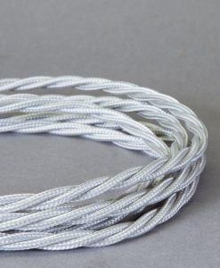 Braided Fabric Cable for Lighting Silver 8 Amp 3 Core