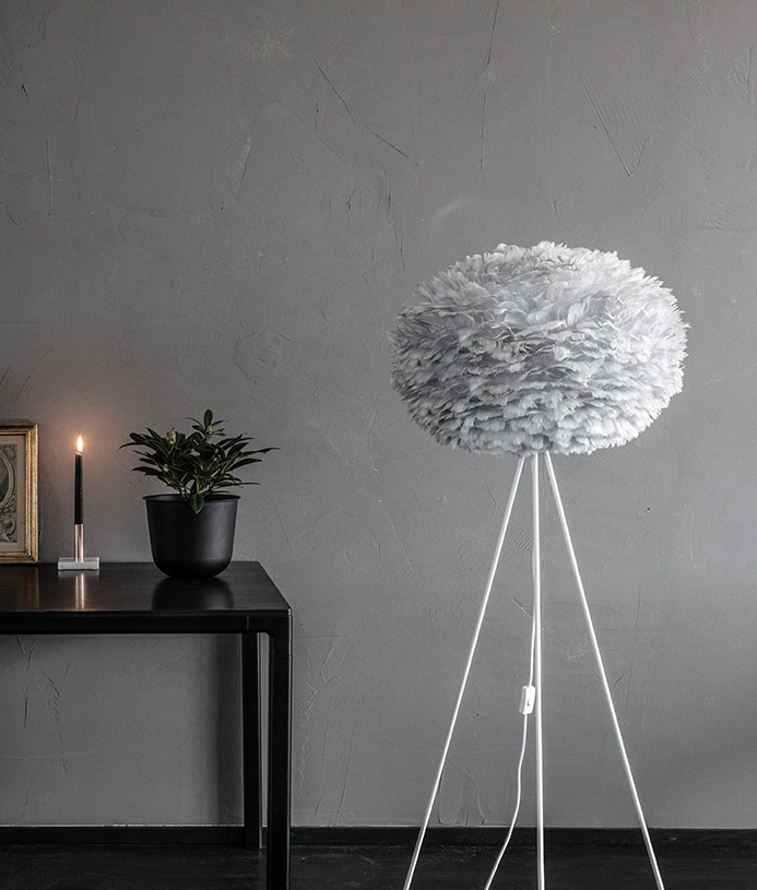 Large Grey Feather Light Shade Vita Eos Hnadcrafted