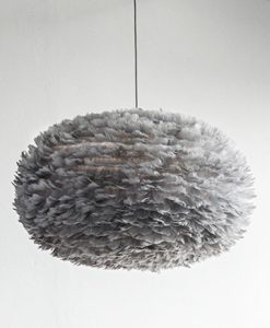 Extra Large Grey Feather Light Shade Vita Eos Handcrafted