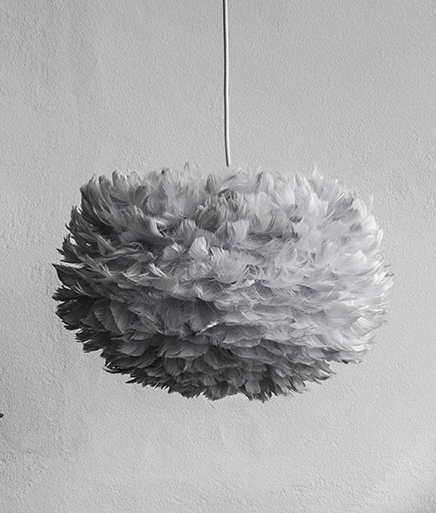 Medium Grey Feather Light Shade Vita Eos Handcrafted