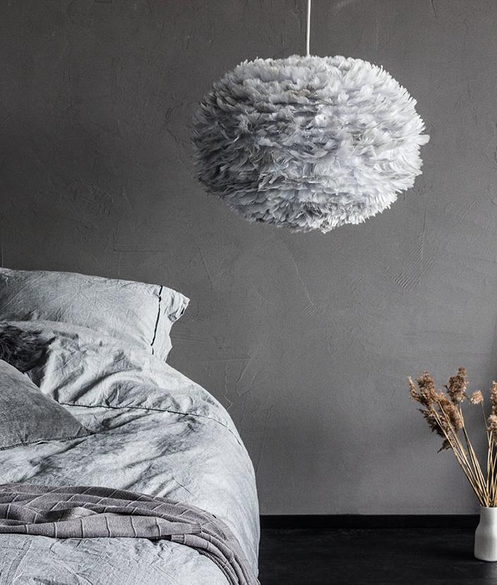 Large Grey Feather Light Shade Vita Eos Hnadcrafted