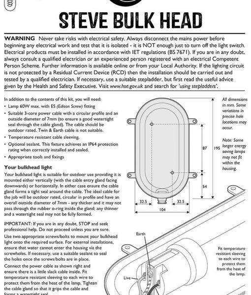 instructions steve pewter bulkhead wall light