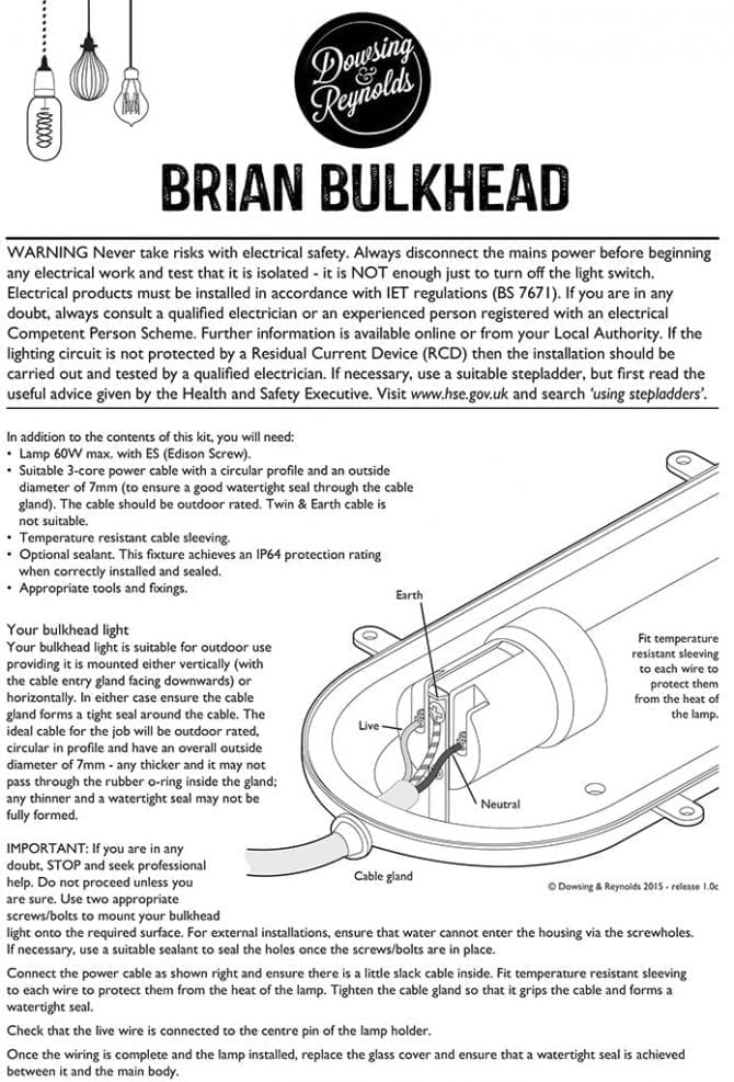 instructions brian silver bulkhead light