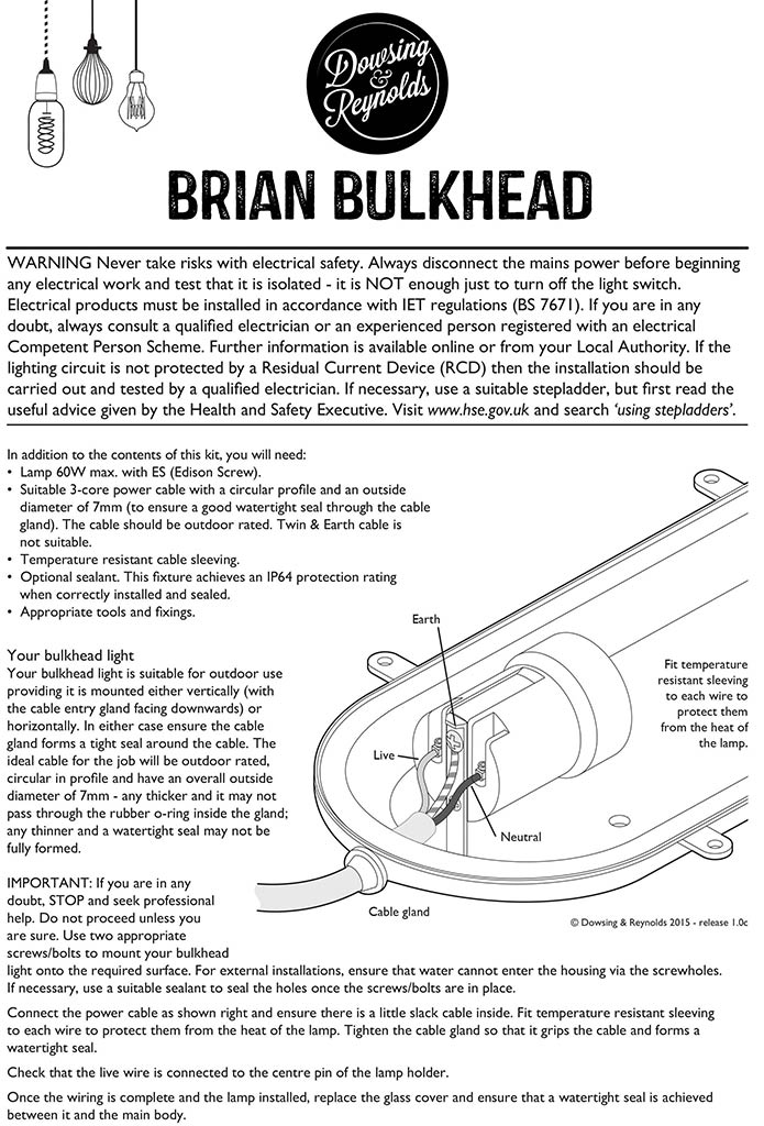 instructions brian silver bulkhead light