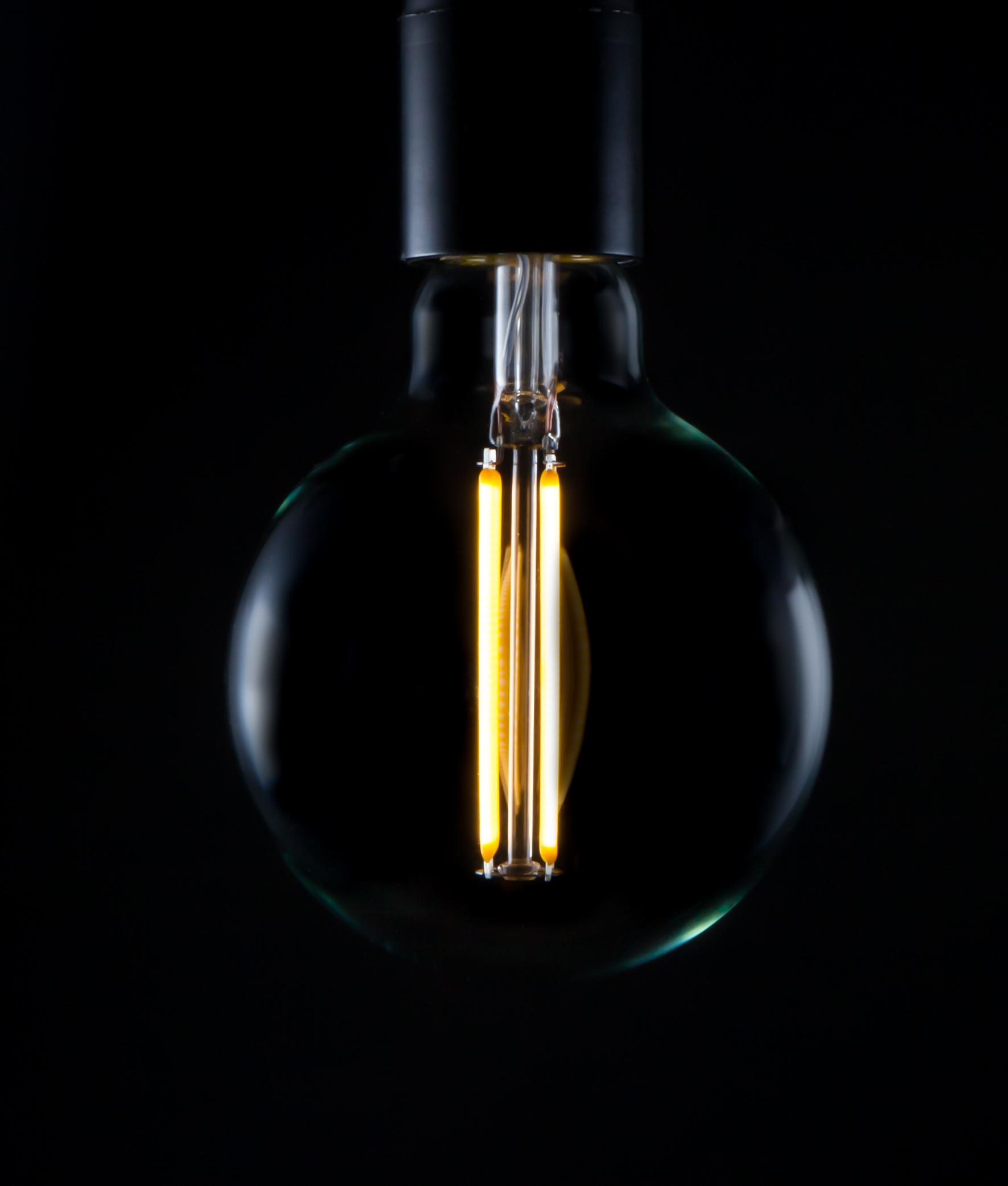 led filament bulb large globe long vintage glow. Black Bedroom Furniture Sets. Home Design Ideas