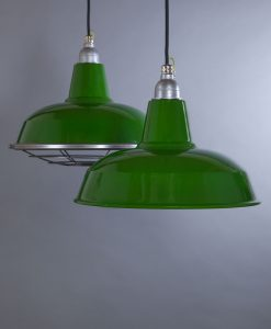 green enamel pendant light Burley