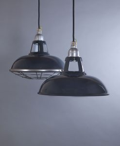Farsley Grey Industrial Lighting - Dark Grey Enamel Industrial Kitchen Lighting